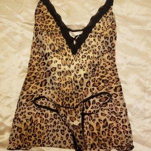 Sheer Leopard Lingerie Set